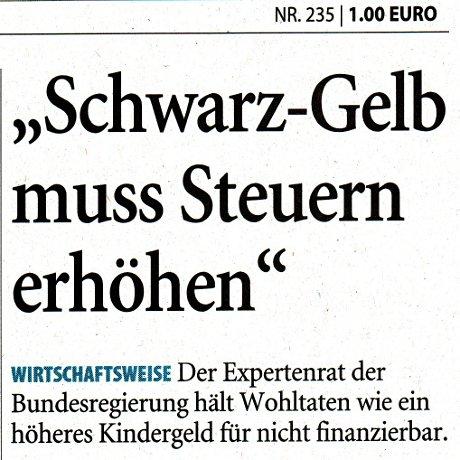 Schwarz-gelb muss Steuern erhöhen: Wirtschaftsweise … (Aufmacher Solinger Tageblatt, 9.10.2009)
