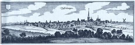 Solinger Stadtansicht um 1647: Kupferstich von Matthäus Merian der Ältere