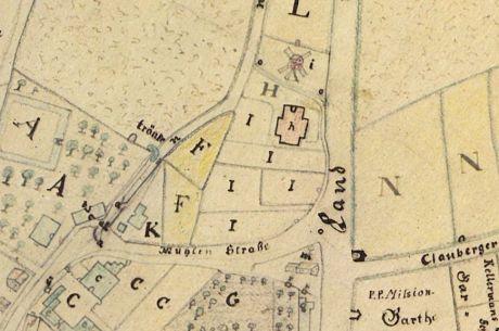 Ländereien, die 1768 der Abtei Altenberg gehörten: unterhalb (südlich) der Windmühle (i) die Rossmühle (h)