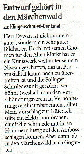 Leserbrief Märchenwald: abgedruckt am 3. November 2008 im Solinger Tageblatt. Der Autor ist mir namentlich bekannt.