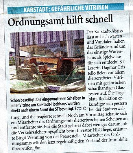 Ordnungsamt hilft schnell: Bericht im Solinger Tageblatt vom 3. September 2009