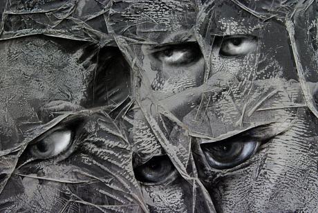 Stadt, Wald, Wasser, Mensch, 2007: Detail, Acryl auf gefaltetem Pergamentpapier, Duda Voivo