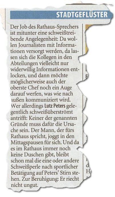Stadtgeflüster: (Solinger Tageblatt, 19. Juli 2012)