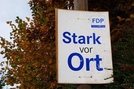 Stark vor Ort: Werbeslogan der FDP im Wahlkampf 2009