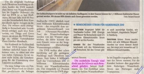 Ausschnitt Solinger Tageblatt vom 14.4.2011: Wasserkraft aus dem Eschbach