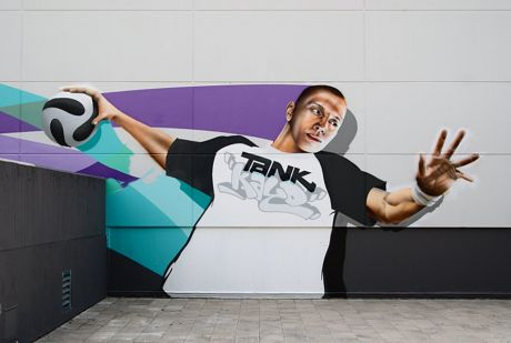 Graffito an der Klingenhallen: noch jungfräulich