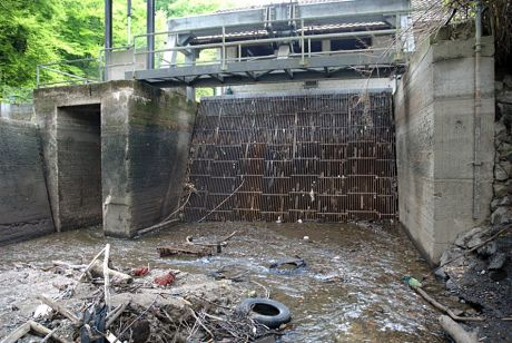 Das noch bestehende Rechen am Turbineneinlass des Auer Kottens: beim Umbau des Wehres wurde im Mai 2010 der Obergraben trockengelegt