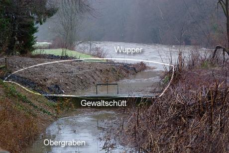 Gewaltschütt: Trennung zwischen Wupper und Obergraben