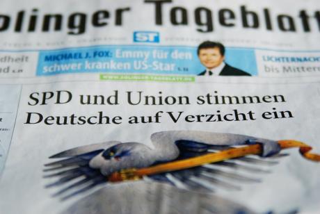 SPCDU stimmen Deutsche: auf Verzicht ein. (Schlachtzeile im Solinger Tageblatt, 22.9.2009)