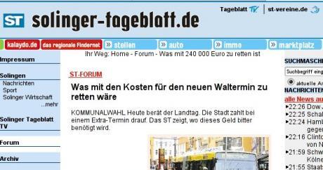 Waltermin: Screen-Dump www.solinger-tageblatt.de am 6. März. 2009