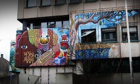 Wandbild am alten Polizeigebäude
