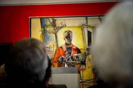 Warten auf Dirk Balke: den Kurator der Ausstellung