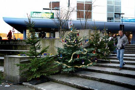 Wir schmücken den Baum fürs Weihnachtsfest: und entsorgen ihn in die City
