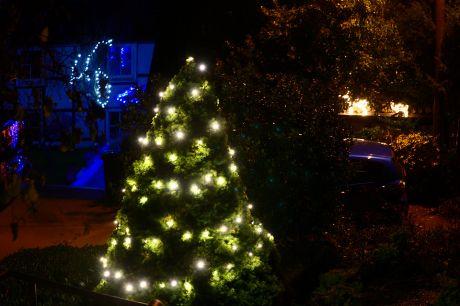 technische Weihnachtsbeleuchtung im Vorgarten