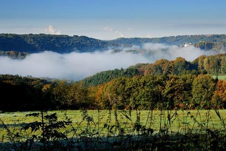 Wupperheih: Blick vom Pfaffenberg auf Hohenscheid, Widdert und die Braunkohlenkraftwerke