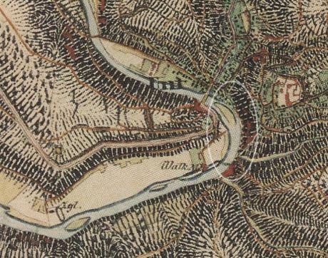 Wupperinsel auf einer Karte aus dem Jahre 1844: unten in der Markierung das Wehr der Walkmühle