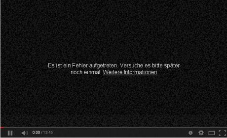 Youtube-Fehlermeldung: Es ist ein Fehler aufgetreten. Versuchen sie es später noch einmal.