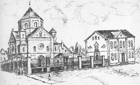 Synagoge an der Malteserstraße: Federzeichnung von H(ermann) S(chmidthäussler), Stadtarchiv Solingen